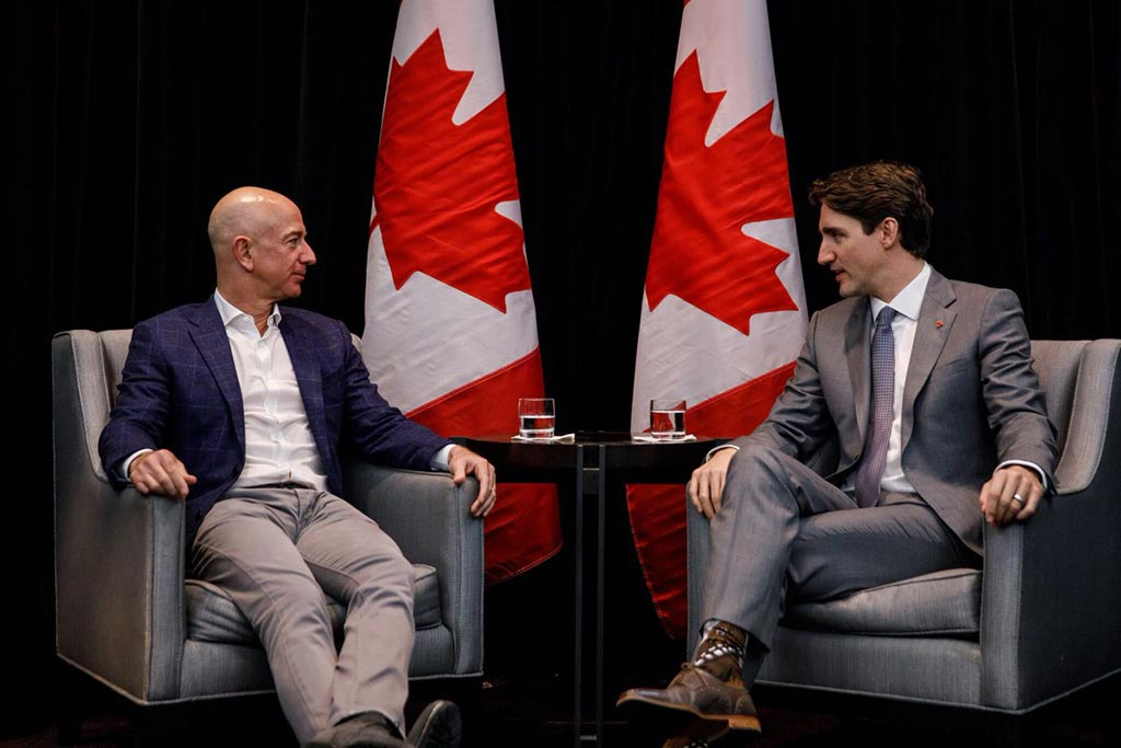 Prime Minister Justin Trudeau meets with Amazon CEO Jeff Bezos in San Francisco on a trip to Silicon Valley in February 2018.