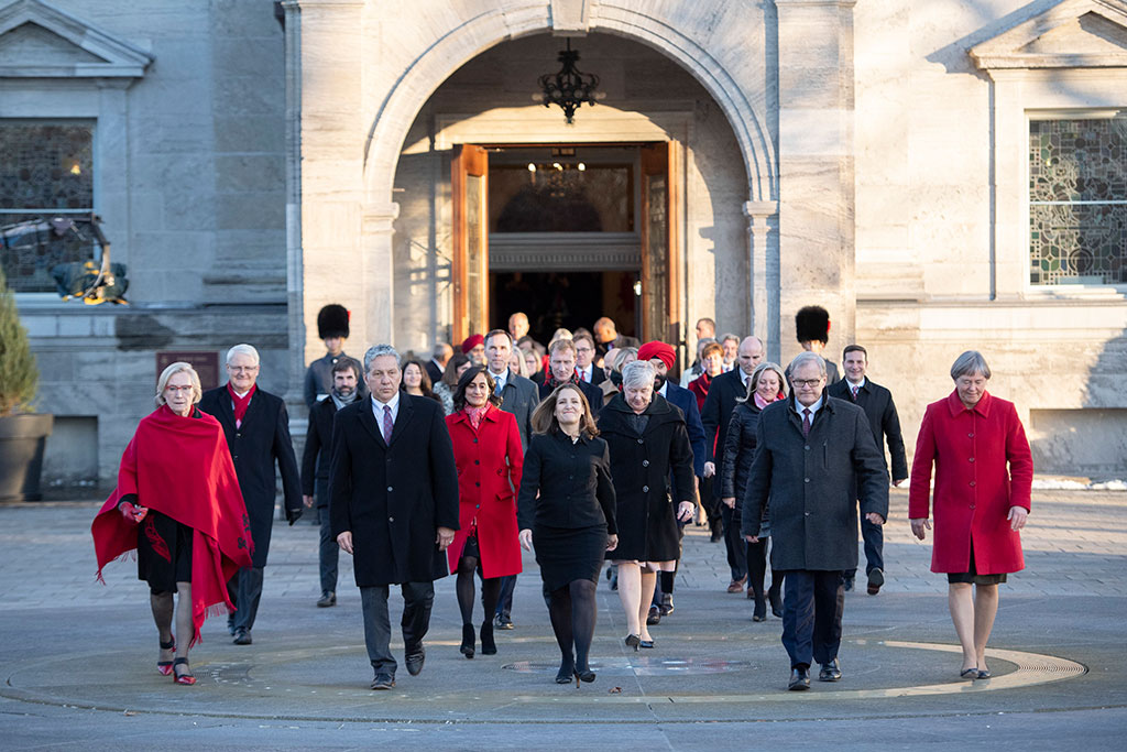 Members of the federal cabinet at Rideau Hall following their swearing-in ceremony in Ottawa in November 2019.