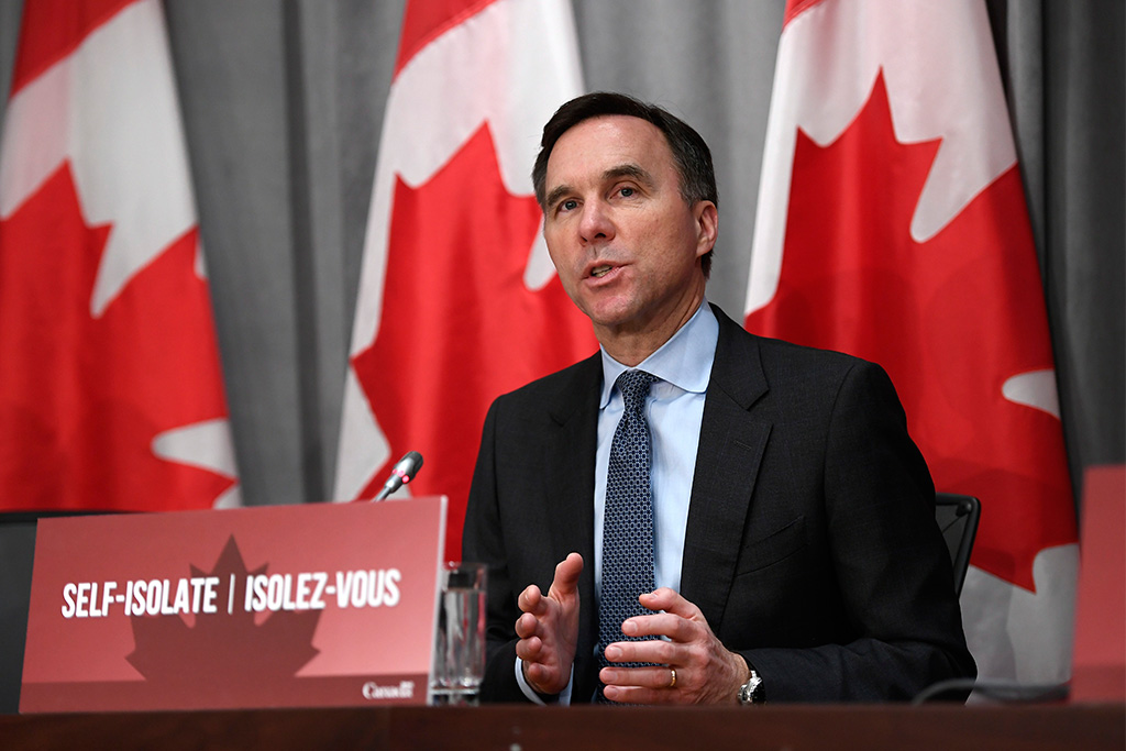 Finance Minister Bill Morneau speaks at a press conference on the federal government's economic response to COVID-19 in Ottawa in March 2020.