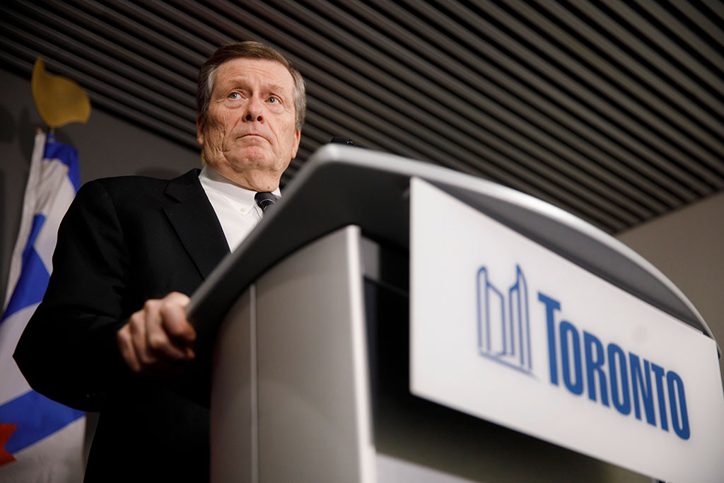 Toronto Mayor John Tory speaks at a press conference in February 2020.