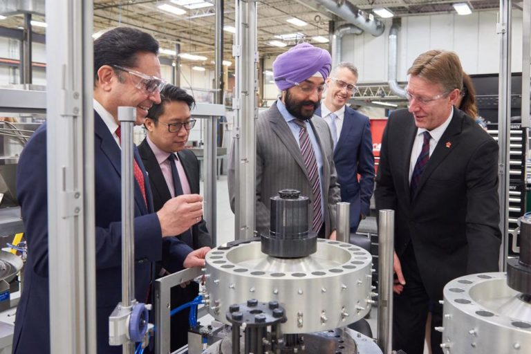 Innovation Minister Navdeep Bains at Hibar Systems in Richmond Hill, Ont. in April 2019. The company received $2 million in funding from the National Research Council's Industrial Research Assistance Program.