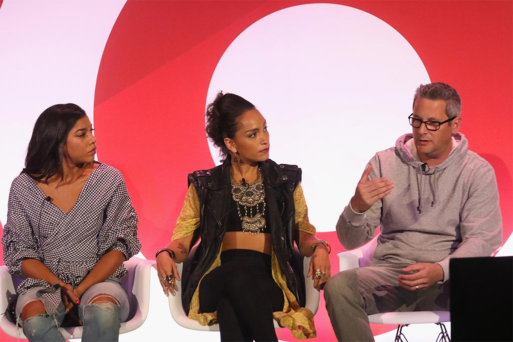 Hannah Bronfman, Robin Arzonl and Jon Wexler speak onstage during the It's Not About You: A Discussion About Authenticity in Influencer Marketing panel in B.B. King at 2016 Advertising Week New York on September 26, 2016 in New York City.